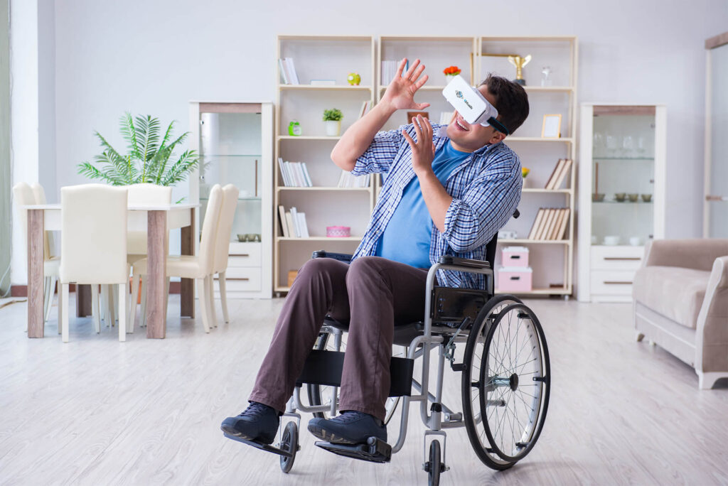 wheelchair man virtualis helmet vr